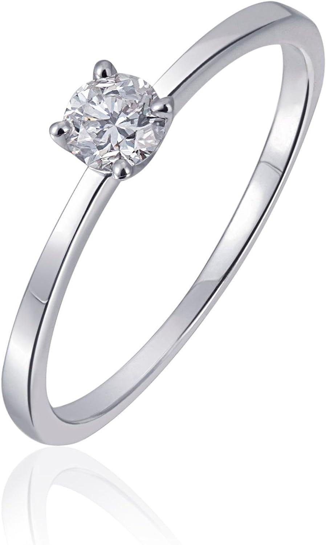 Goldmaid Damen Ring 14 Karat 585 Weißgold Solitär Verlobungsring 1 Brillant 0,25 ct. So R6171WG