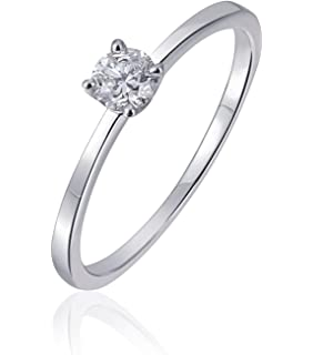 Verlobungsring Weissgold 0 1 Carat Diamant Diamantring Mit 585
