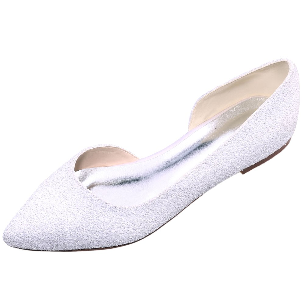 LOSLANDIFEN Women's Elegant Sequins Flats Pionted Toe Wedding Ballet Bridal Shoes B018NV06LA 37 M EU/6.5 B(M)US|White