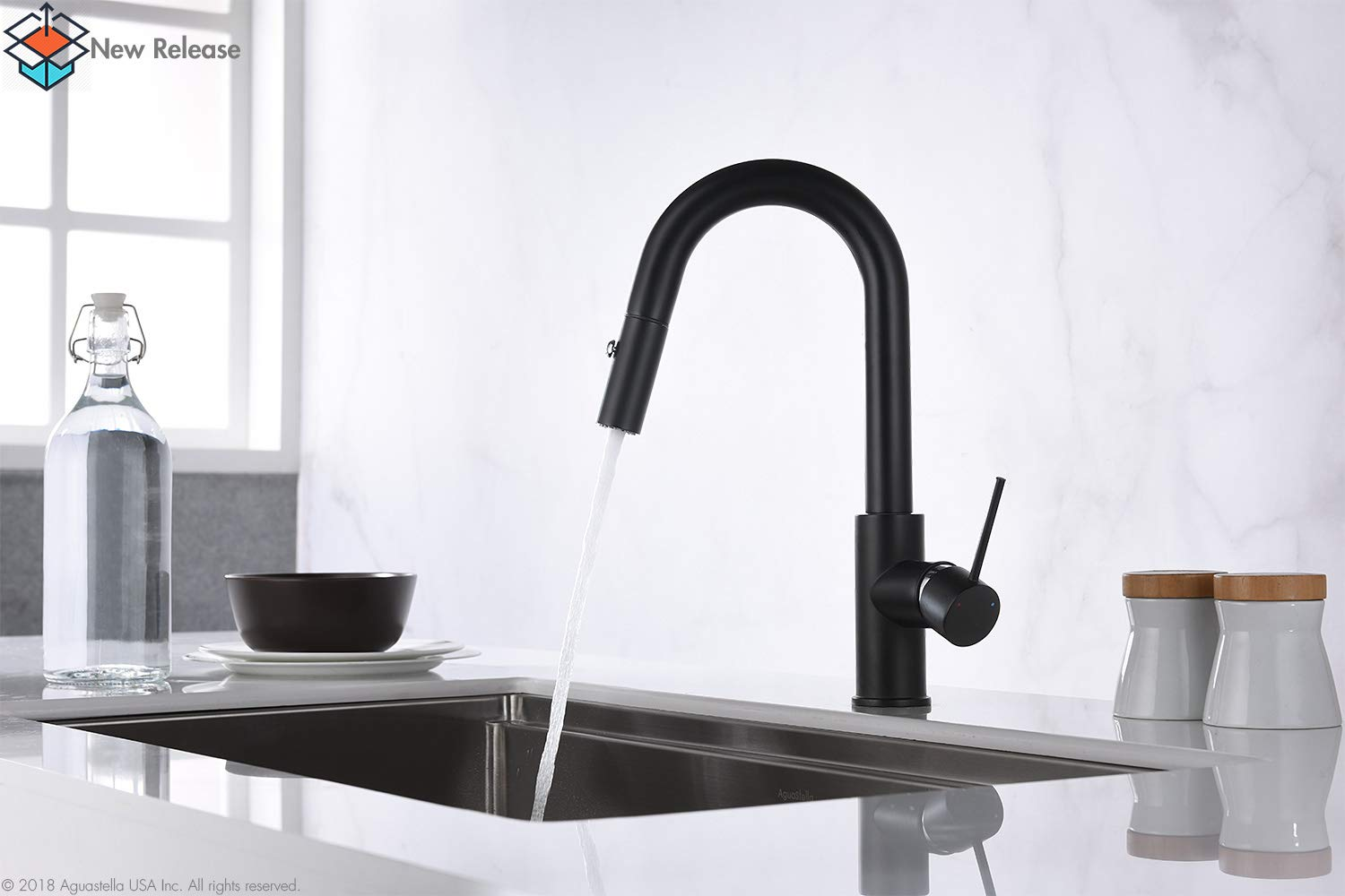 AguaStella AS59MB Matte Black Bar Faucet or Prep Kitchen Sink Faucet with Pull Down Sprayer and Single Handle