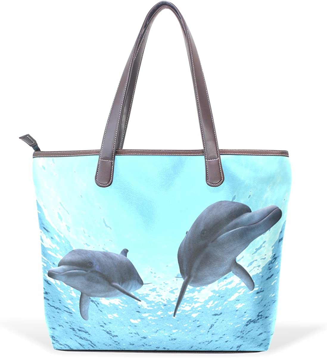 Sunlome Underwater Cute Dolphins Handbags For Women Girls PU Leather Shoulder Tote Bag