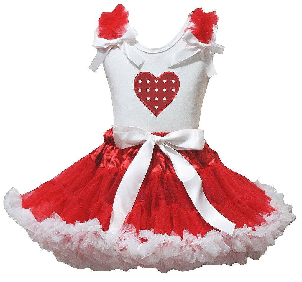 Petitebella Polka Dots Heart White Cotton Shirt Red White Ribbon Skirt Set 1-8y