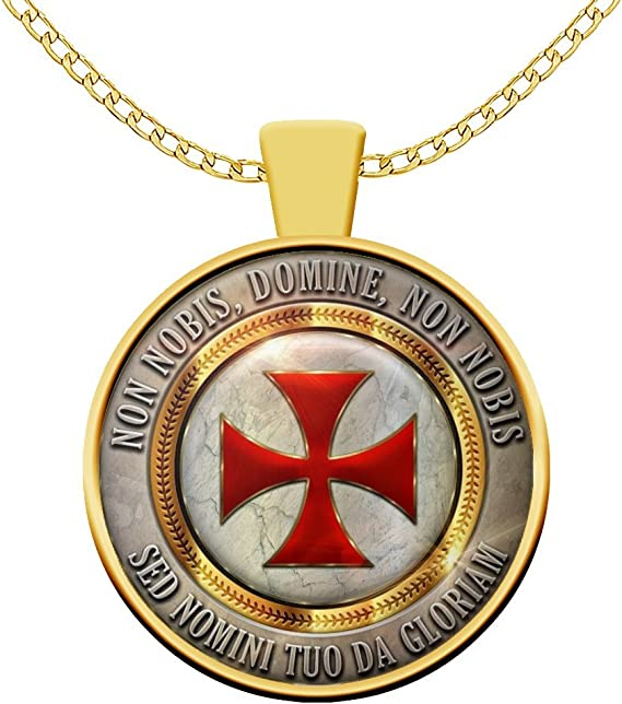 Non Nobis Domine Motto Templar Cross Symbol Knights Templar Masonic travel mug