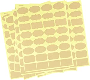 480 Pcs / 15 Sheet Sticker Labels for Essential Oil Bottle, Blank Brown Kraft Label Sticker Paper with Adhesive for Storage Bin, Food Jars, Pantry, Container, Tags by Cacturism