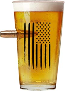 American Flag Pint Drink glasses .50 Caliber Designed Hand Blown Large Size Glasses USA Patriotic Gift .50 Cal Projectile Beer Glass 16 Oz.