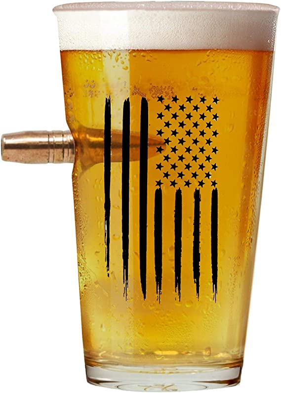 American Flag 50 Cal Bullet Beer Glass – Hand Blown Glasses – Real 50 Cal Design – USA Patriotic Gifts – 16 Oz. Pint Glass