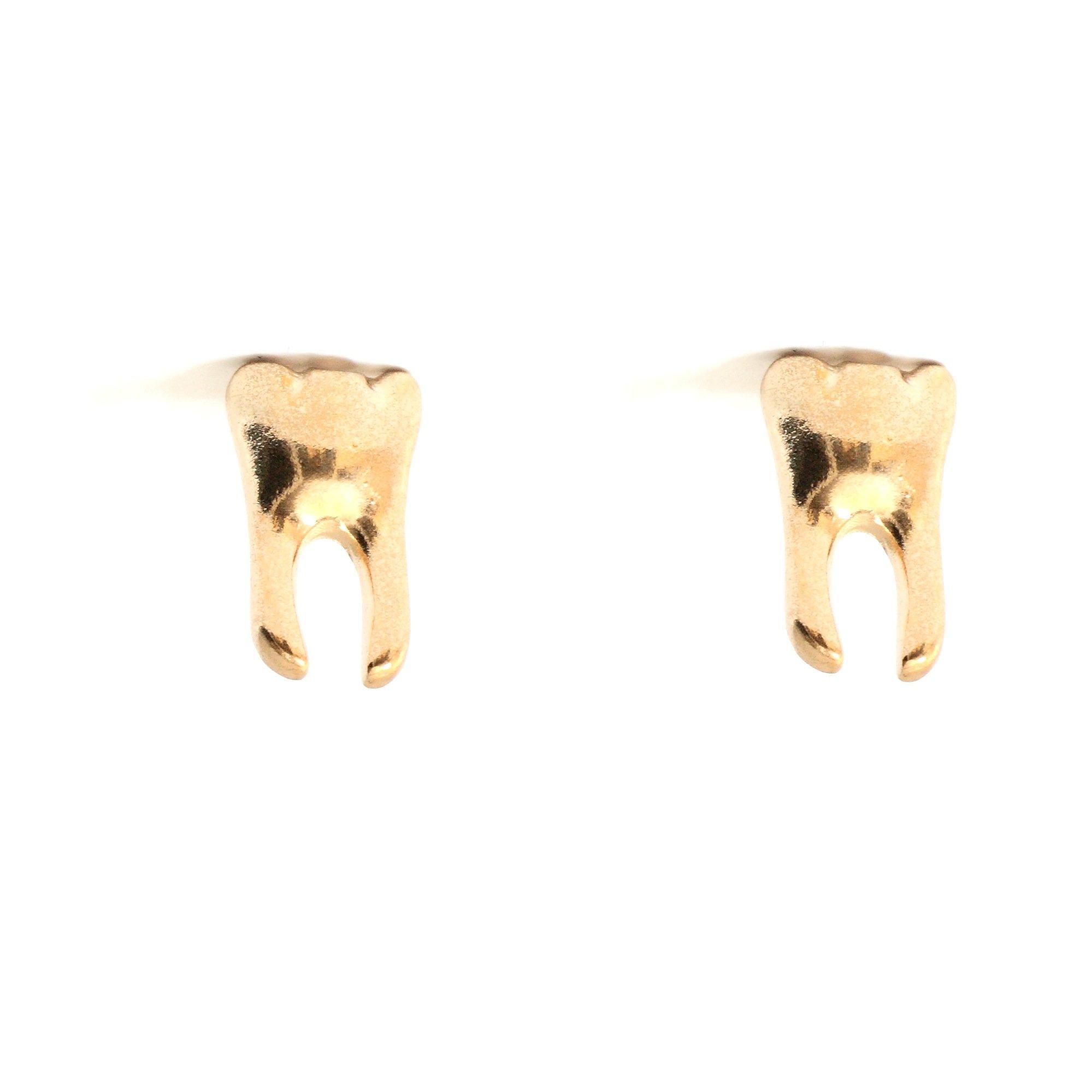 Magic Metal Molar Tooth Stud Earrings Gold Tone EA18 Tribal Cannibal Dental Grill Posts Fashion Jewelry