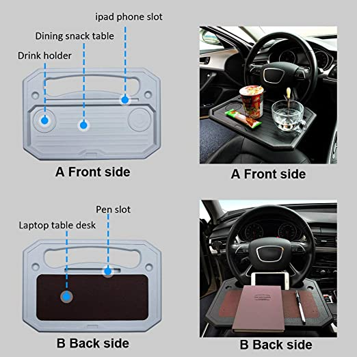 Pack of 1 DBzon Trading car 1pcs Eating//Laptop Steering Wheel Desk Black