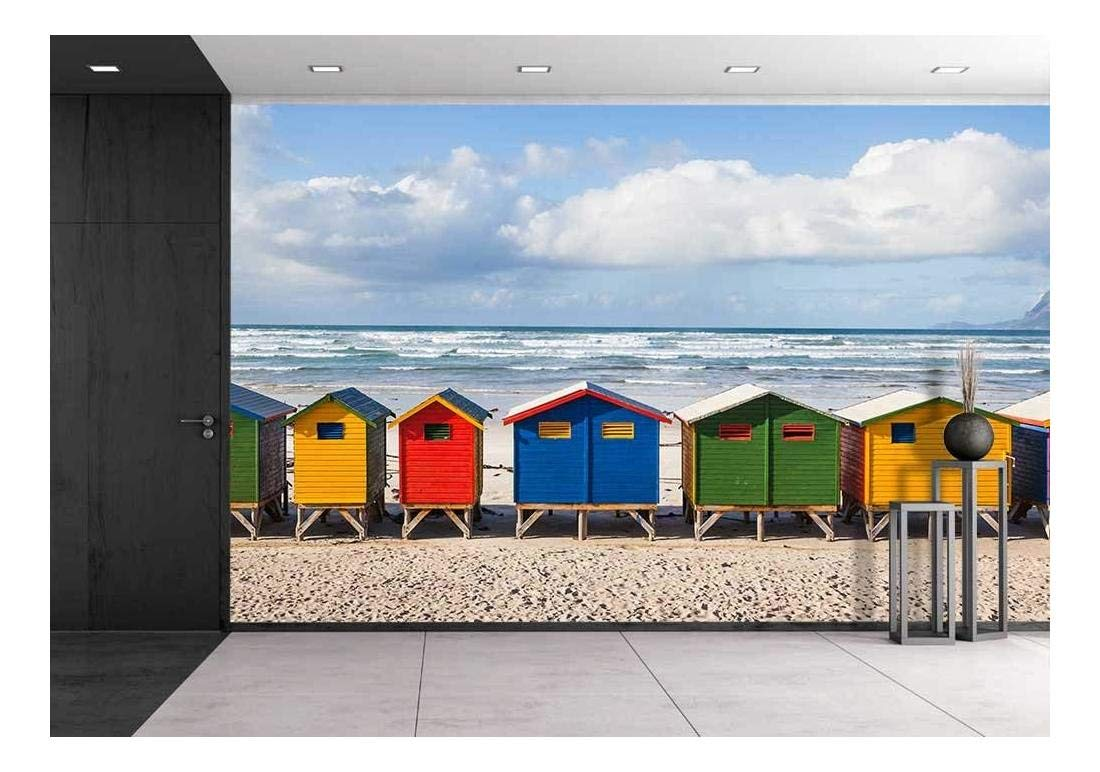 Row Of Brightly Colored Huts In Muizenberg Beach