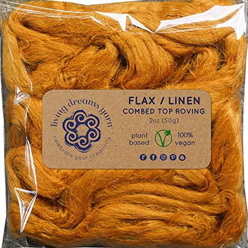 - Flax Fiber for Spinning, Blending, Felting & Fiber Arts. Natural Vegan Combed Top. Curry