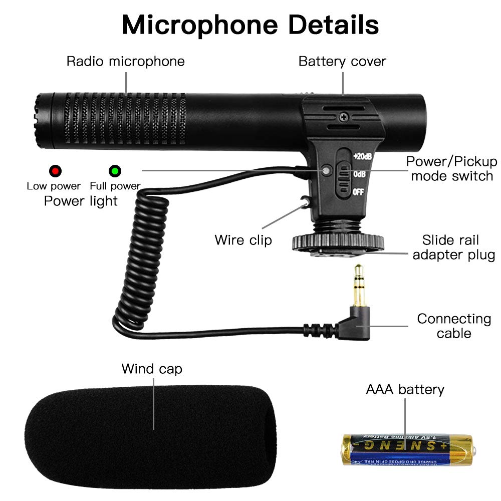 Video Microphone SAMTIAN Camera Microphone Shotgun Interview Microphone for Canon Nikon Sony Panasonic Fuji with AAA 1.5V Alkaline Battery and Windproof Cotton