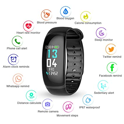 Amazon.com: Fitness Tracker Heart Rate Blood Pressure Sleep ...