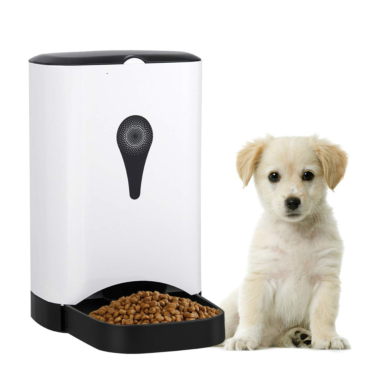 Giantex Automatic Pet Feeder Food Dispenser for Dogs, Cats & Small Animals, Distribution Alarms, Portion Control & Voice Recording Control Food Dispenser, 4.5 L Large Capacity W/Anti-Slip Foot Design
