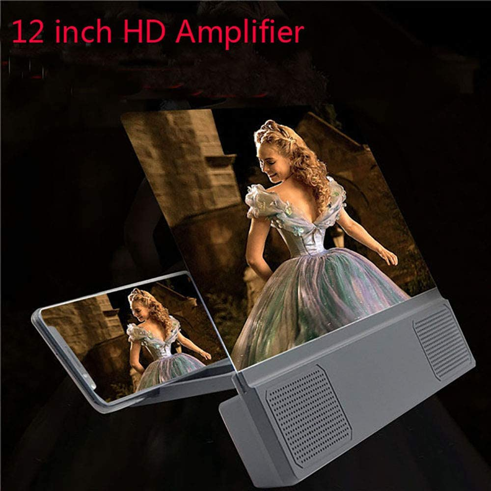 ZUEN Screen Amplifier Mobile Screen Amplifier Amplification Function Clear Applicable to Any Mobile Phone Portable Belt Office Home Black
