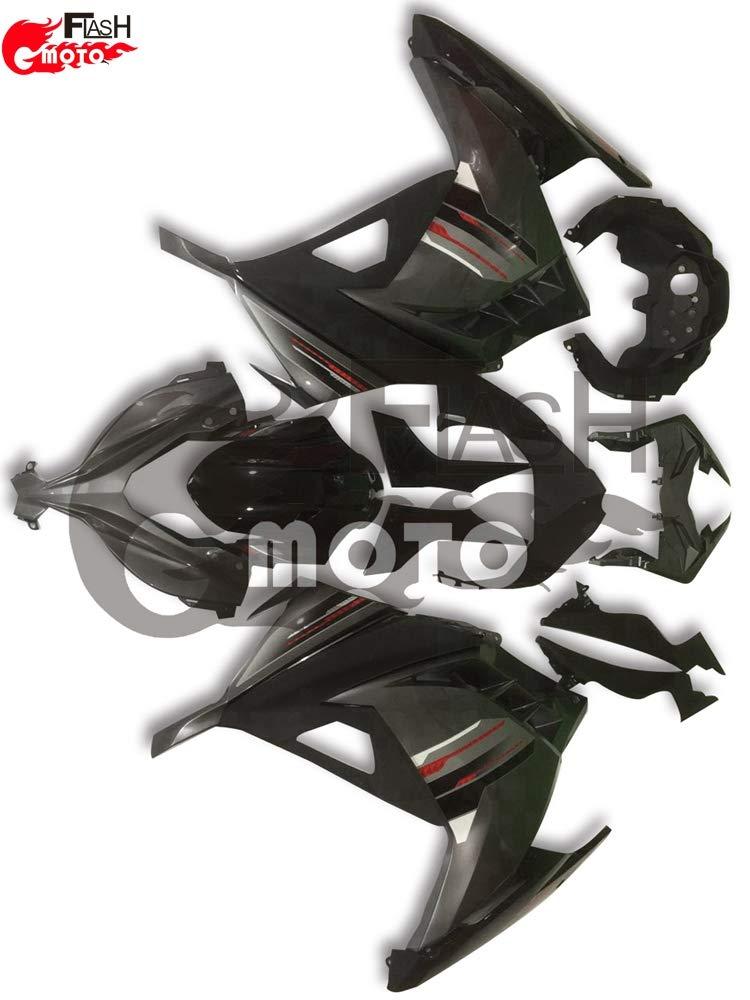 FlashMoto kawasaki 川崎 カワサキ EX300R Ninja 300 ZX300R 2013 2014用フェアリング 塗装済 オートバイ用射出成型ABS樹脂ボディワークのフェアリングキットセット (ブラック,グレー)   B07L8971S8