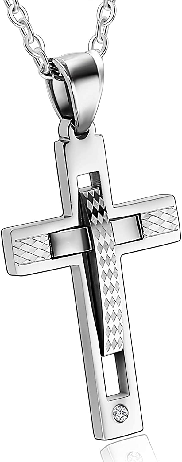MoAndy Stainless Steel Jewelry Necklace Chain Cross DN208