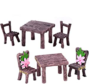 mwellewm 6 Pcs Miniature Table and Chairs Set, Fairy Garden Furniture Ornaments Kit for Dollhouse Accessories Supplies, Home Micro Landscape Decoration