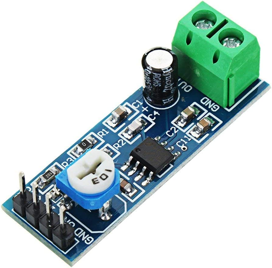 200 Times Gain LM386 Audio Amplifier Amplitude Module Board with Adjustable Resistance Control Potentiometer for Arduino Raspberry Pi or Musical Projects(Pack of 5)