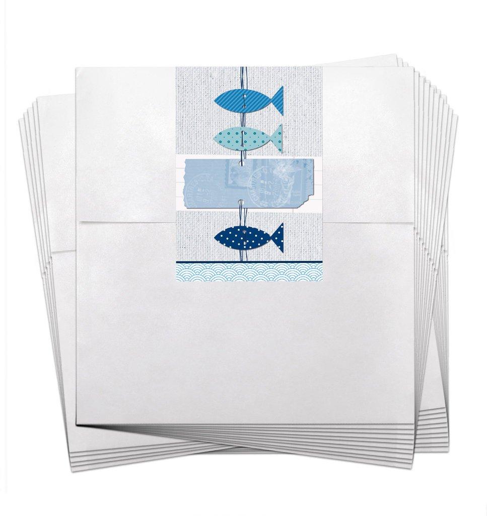 25piccoli sacchetti regalo sacchetti di carta bianchi compleanno (13X 18+ 2cm cerniera) + Adesivo con tre blu bianco tuerkise pesci per battesimo, comunione, cresima, matrimonio, compleanno Jeanette Dietl