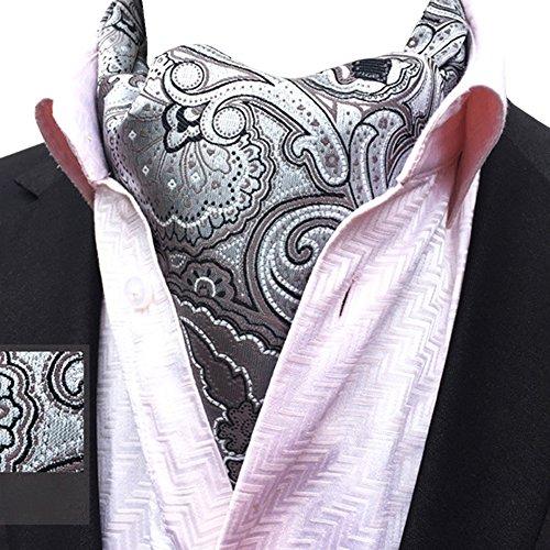 Ascot Lja Silver Floral Scarf Men's Necktie 19 Patterned Jacquard Paisley Jacquard YCHENG qp1znw7wt