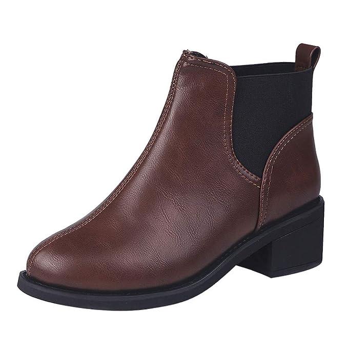 Schlüpfen Leather Stiefeletten Chelsea Mymyg Damen Boots OkiuTwPZX