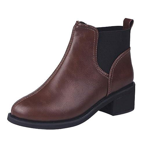Botas de Mujer, Amlaiworld Zapatos de tacón Cuadrado para Mujer Martain Boot de Cuero Color sólido Zapatos sin Cordones con Punta Redonda Otoño Invierno ...