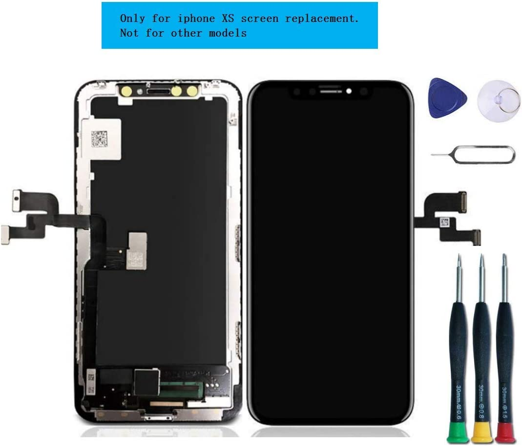 DTLake Screen Replacement Compatible with iPhone Xs Screen Replacement 5.8 inch (Model A1920, A2097, A2098,A2099, A2100) Touch Screen Display digitizer Repair kit Assembly with Complete Repair Tools