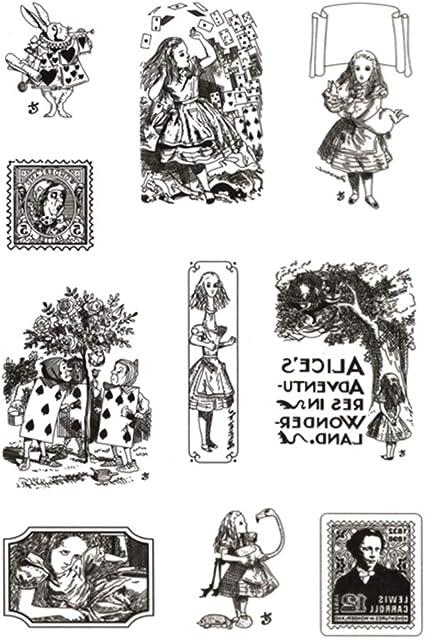 Alice Vintage Clear silicona sello sellos silicona transparente sello TPR sello para bricolaje álbum Scrapbooking foto tarjeta diario decoración artesanías-11 * 16cm-1pc: Amazon.es: Hogar
