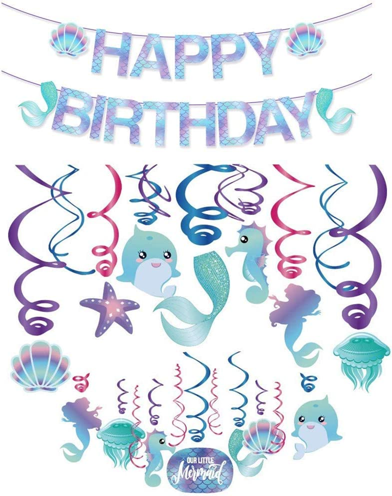 Mermaid Birthday Party Decorations Supplies, Mermaid Hanging Swirl Decorations And Mermaid Birthday Banner, Mermaid Party Supplies Decorations, Ocean Birthday Theme for Baby Shower
