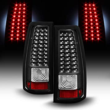 For 2003-2006 Chevy Silverado 1500 2500 3500 Black Housing LED Tube Tail Lights Brake Lamps Assembly Left+Right ACANII