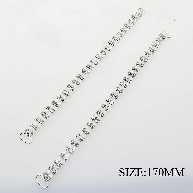 10pcs/lot 180mm Bikini Swimwear Connectors Charm Metal Chain Buttons Crystal Rhinestone Buckle For Swimwear Yomoo
