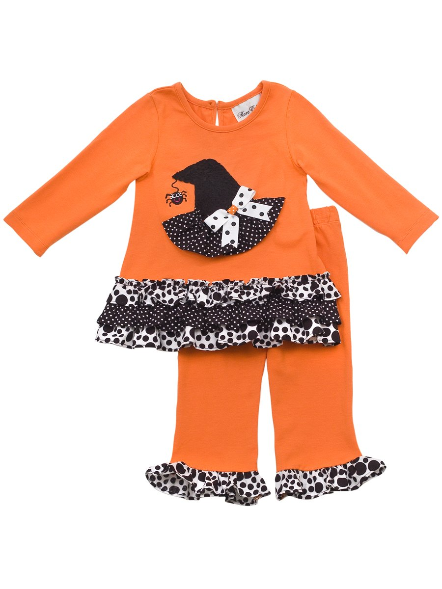 Rare Editions Little Girls' Hat Applique Knit Legging Set, Orange/Black/White, 2T