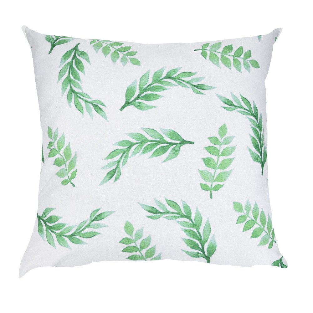 Makeupstore 2019 Fashion Comfortable Pillow Cases, Green Leaf Print Super Soft Plush Decorative Pillowcases for Sofa Car Cushion Cover Home Decor (18 x 18 Inch)