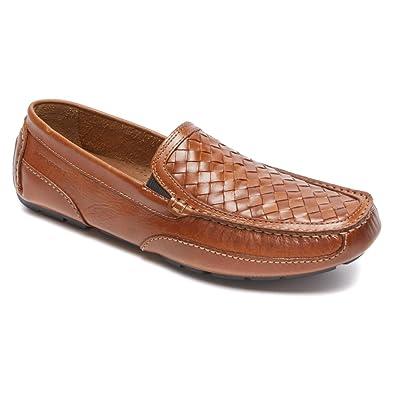 Rockport Men's Oaklawn Park Woven Venetian Loafer,Tan Leather,US ...