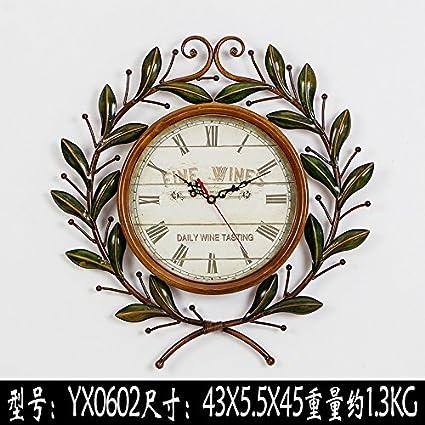 WXIN Reloj De Pared De Hierro Forjado El Hierro Forjado Con Rama Pegatinas Reloj De Pared