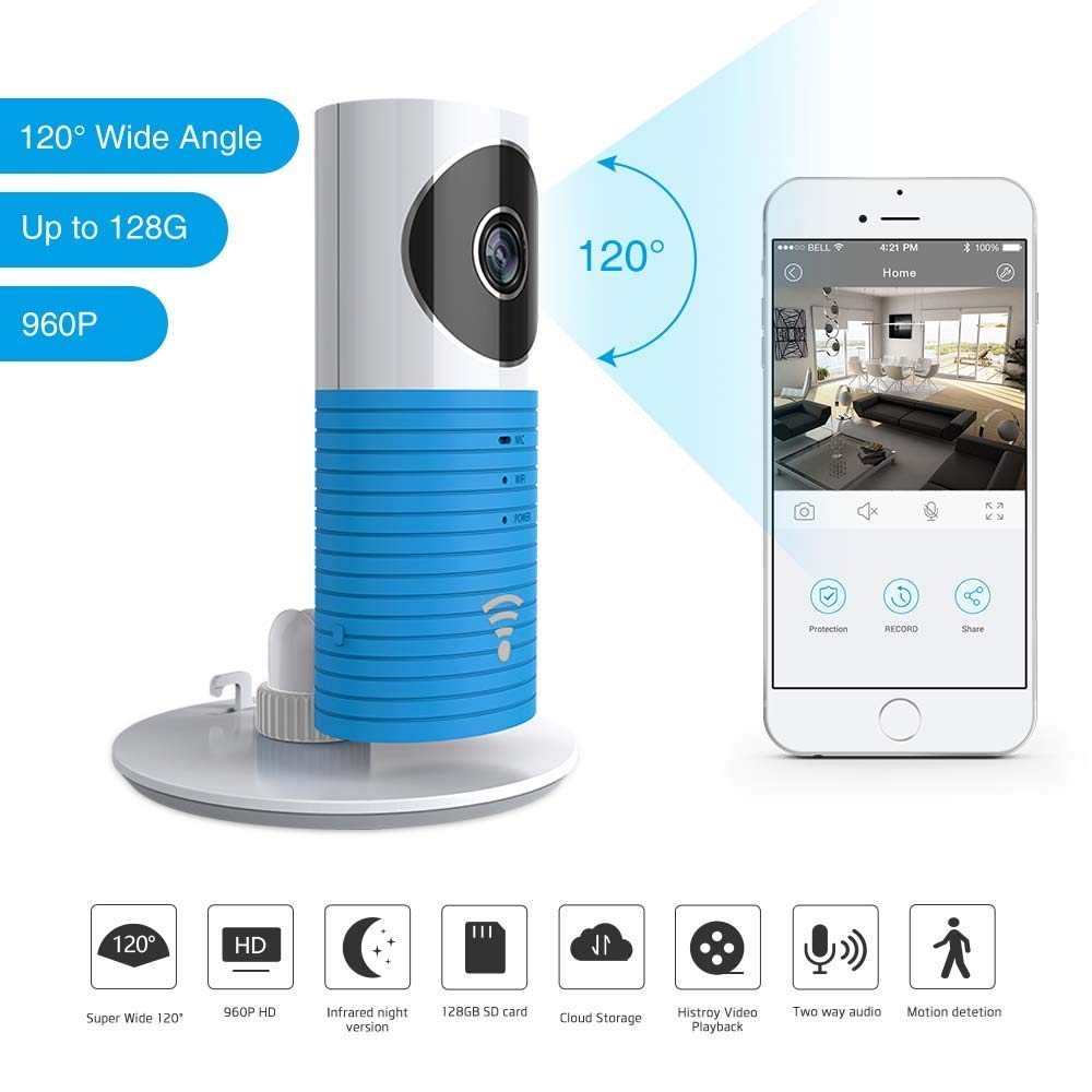 WiFi Doggie Cam Monitor, 3T Clever Dog 2nd Generation 120 Wide Angle Wireless Security WiFi Camera Support Android iOS APP Remote Control