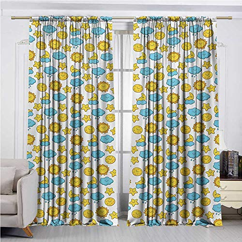 DESPKON-HOME Curtain for Kids Room,Baby Sleepy Morning and Night for Kids Boys Girls Moon Rainy Clouds Stars Sun Insulating Darkening Curtains (96W x 72L inch,Earth Yellow Sky Blue)