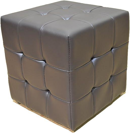 Greatime Tufted Cube Ottoman, Leather Like Vinyl, Espresso