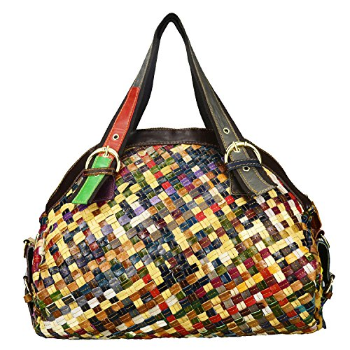 Sibalasi-Multicolor Woven Bohemian Large Tote Snake Print Patchwork Colorful Big Bag(Woven)