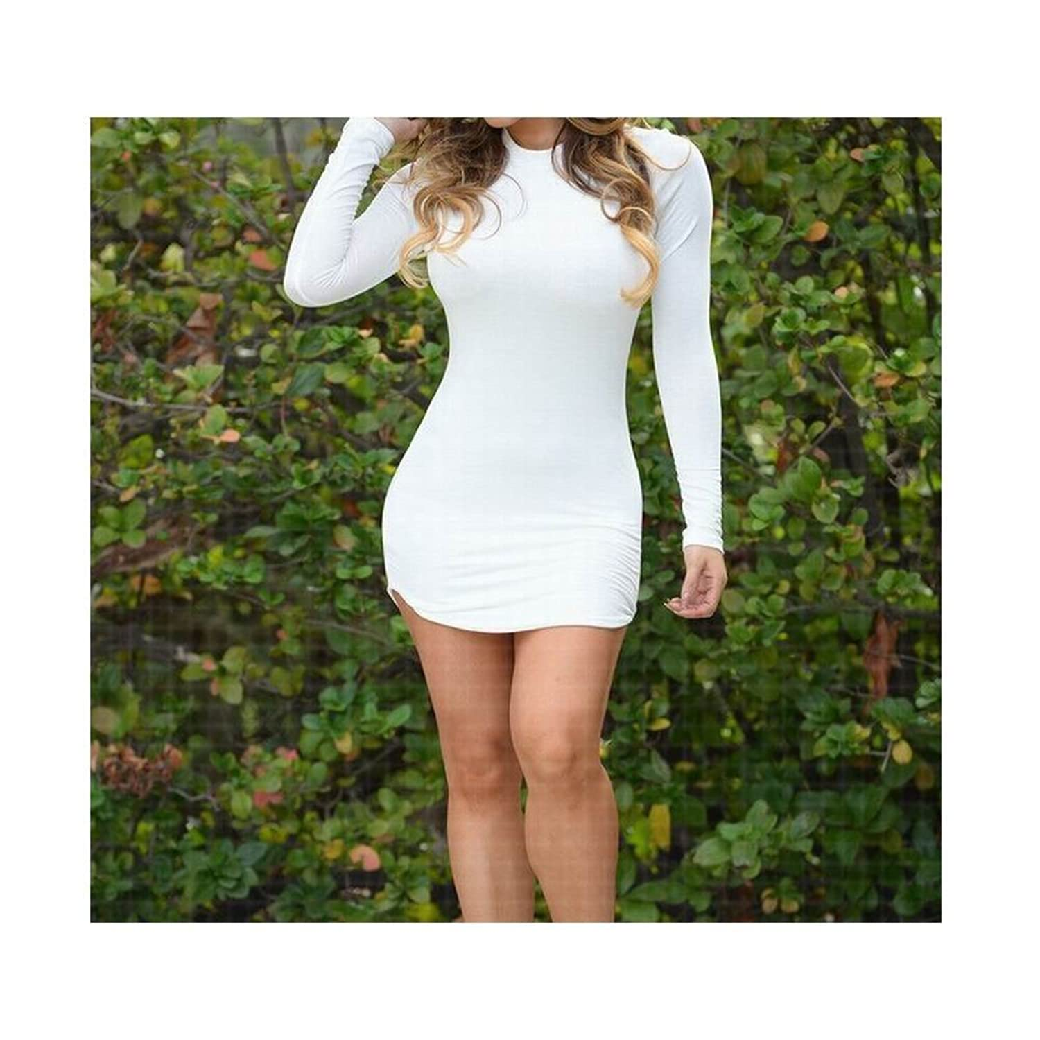 YITL Women's Sexy Elegant Side Slit Cotton Long-sleeve T Shirt One-piece Dresses