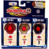 Beyblades 2010 Metal Fusion Exclusive Battle Top 3Pack Earth Eagle, Evil Gemios Dark Bull by Hasbro
