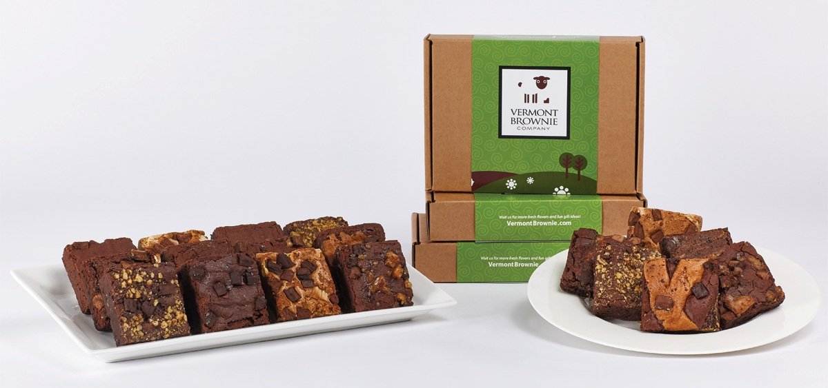 Amazon.com : Gourmet Brownie Gift Sampler - 18 Full Size Brownies - Green Gift Box : Grocery & Gourmet Food