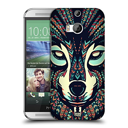 Head Case Designs Wolf Aztec Animal Faces 3 Hard Back Case for HTC One M8 / M8 Dual Sim