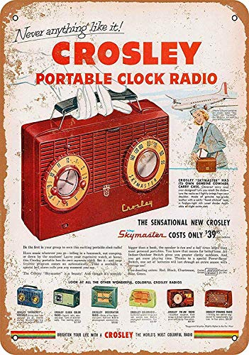 WallDector Crosley Portable Clock Radio Iron Poster Painting Tin Sign Vintage Wall Decor for Cafe Bar Pub Home Beer Decoration Crafts