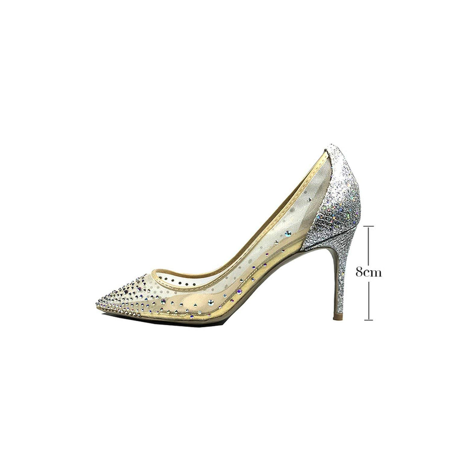 Silver 8cm pleasantlyday Sexy shoes Woman Pointed Toe Heels Crystal Bling Silver High Heels shoes