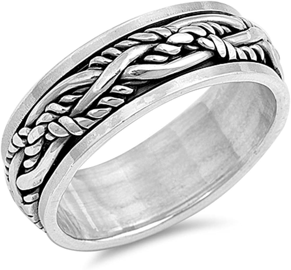 Princess Kylie 925 Sterling Silver Eternity Braid Ring