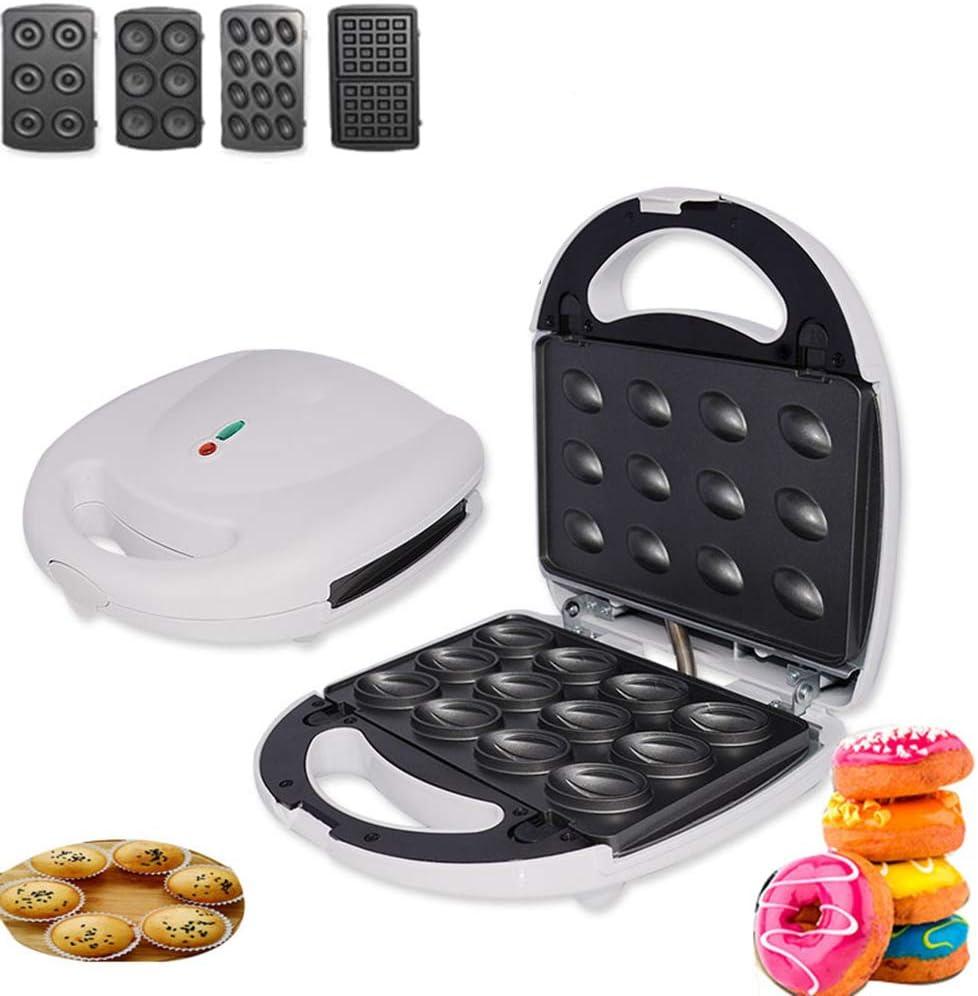 FXXJ Sandwichera, 4 en 1 Donut Donut Maquina de Hierro, Placas de Recubrimiento Profundo Antiadherente, Control Automático de Temperatura