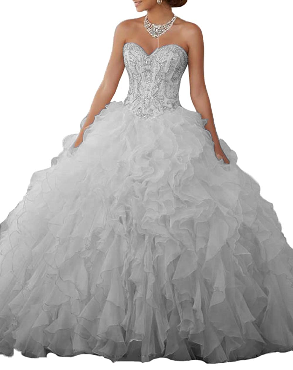 50d0356c0dc1 Aishanglina Women's Sweetheart Heavy Beaded Organza Ruffle Quinceanera  Dresses Prom Ball Gowns Lace Up Back at Amazon Women's Clothing store: