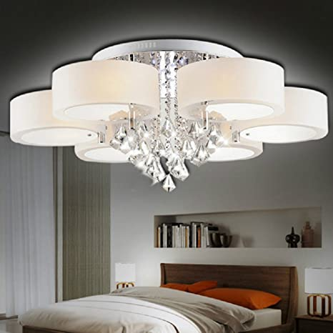 Simple And Crystal Chandelier Modern LED Ceiling Lamp Living Room Lamps  Bedroom Lights Dining Room Pendent Light Warm Lighting (6 Light)      Amazon.com