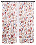 Ellis Curtain Cornwall Jacobean Floral Thermal Insulated Pinch Pleated Curtains, 48 by 72-Inch, Multicolor